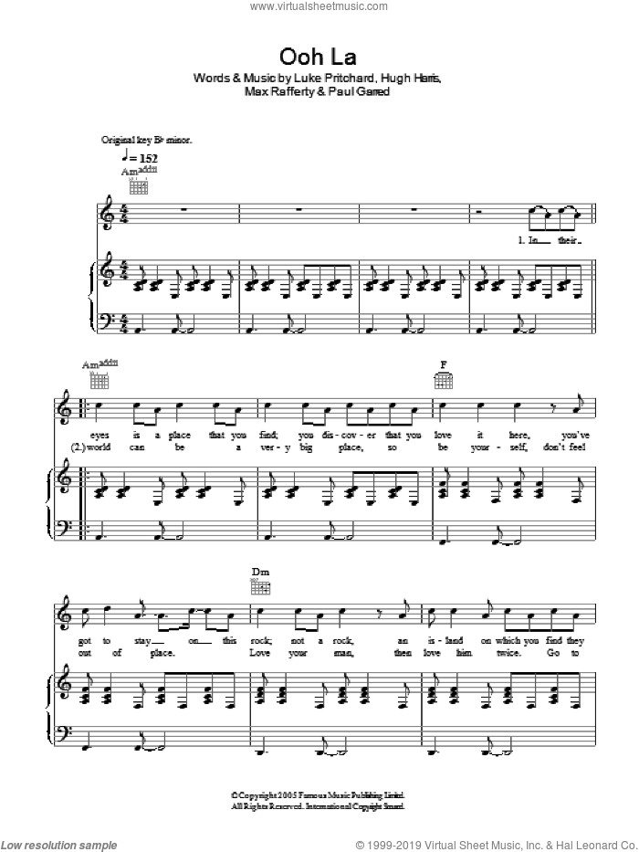 Ooh La sheet music for voice, piano or guitar by Hugh Harris, The Kooks, Luke Pritchard and Paul Garred. Score Image Preview.