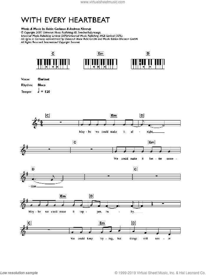 With Every Heartbeat sheet music for voice and other instruments (fake book) by Andreas Kleerup and Robin Carlsson. Score Image Preview.