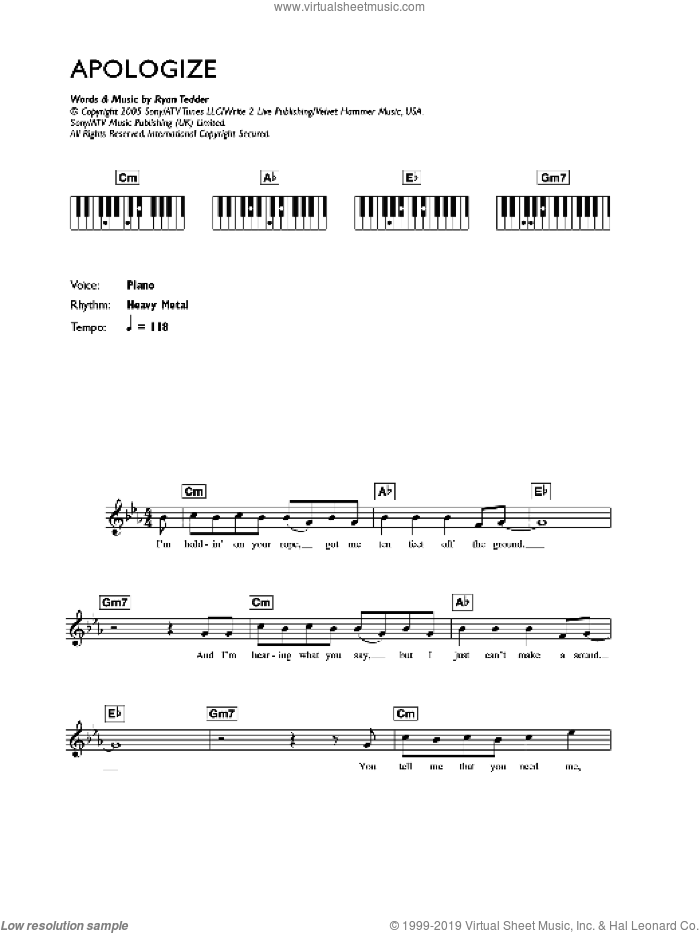 Apologize sheet music for voice and other instruments (fake book) by Ryan Tedder