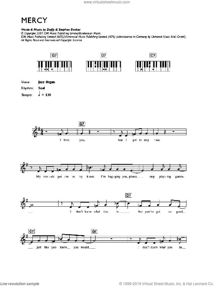 Mercy sheet music for voice and other instruments (fake book) by Duffy, Aimee Duffy and Steve Booker, intermediate skill level
