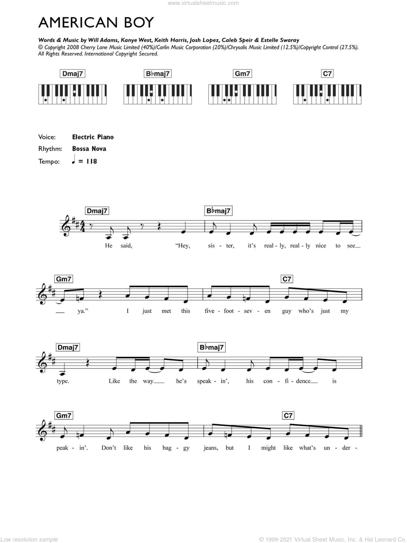 American Boy sheet music for voice and other instruments (fake book) by Estelle, Caleb Speir, Estelle Swaray, Josh Lopez, Kanye West, Keith Harris and Will Adams, intermediate skill level