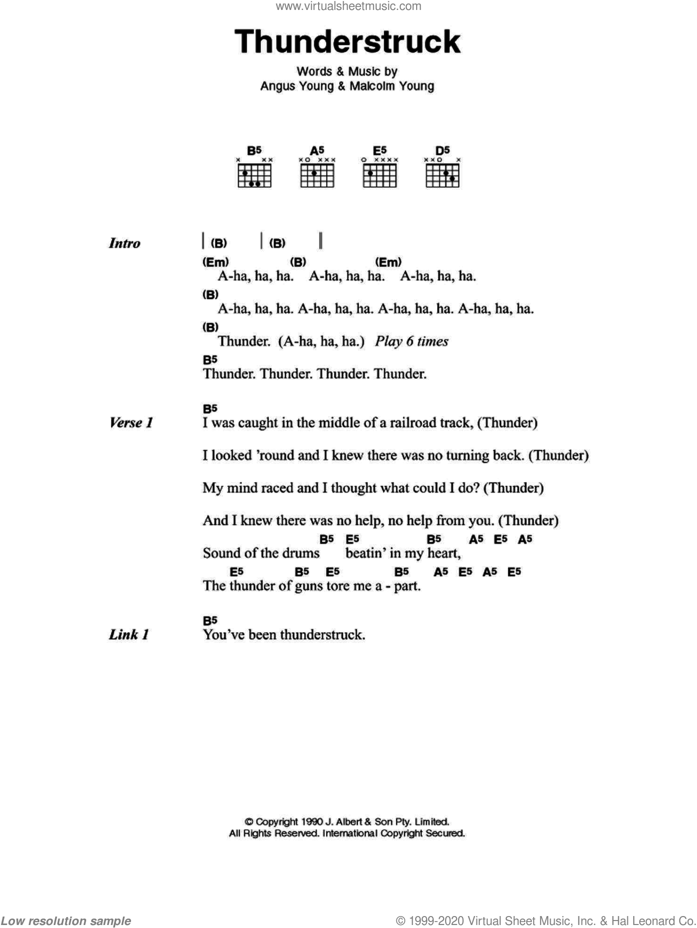AC/DC - Thunderstruck sheet music for guitar (chords) [PDF]