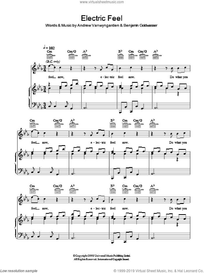 Electric Feel sheet music for voice, piano or guitar by Andrew Vanwyngarden and MGMT. Score Image Preview.