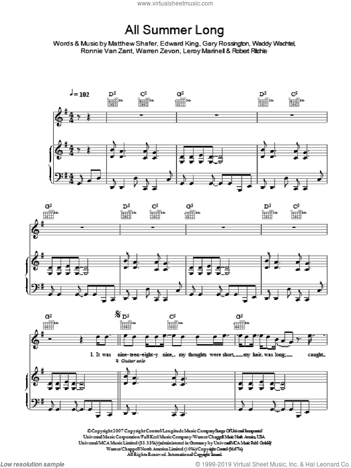 All Summer Long sheet music for voice, piano or guitar by Kid Rock, Edward King, Gary Rossington, Leroy Marinell, Matthew Shafer, Robert Ritchie, Ronnie Van Zant, Waddy Wachtel and Warren Zevon, intermediate skill level