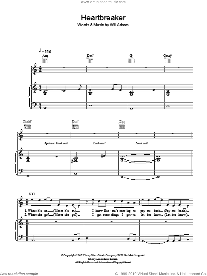 Heartbreaker sheet music for voice, piano or guitar by Will. I. Am feat. Cheryl Cole and Will Adams, intermediate