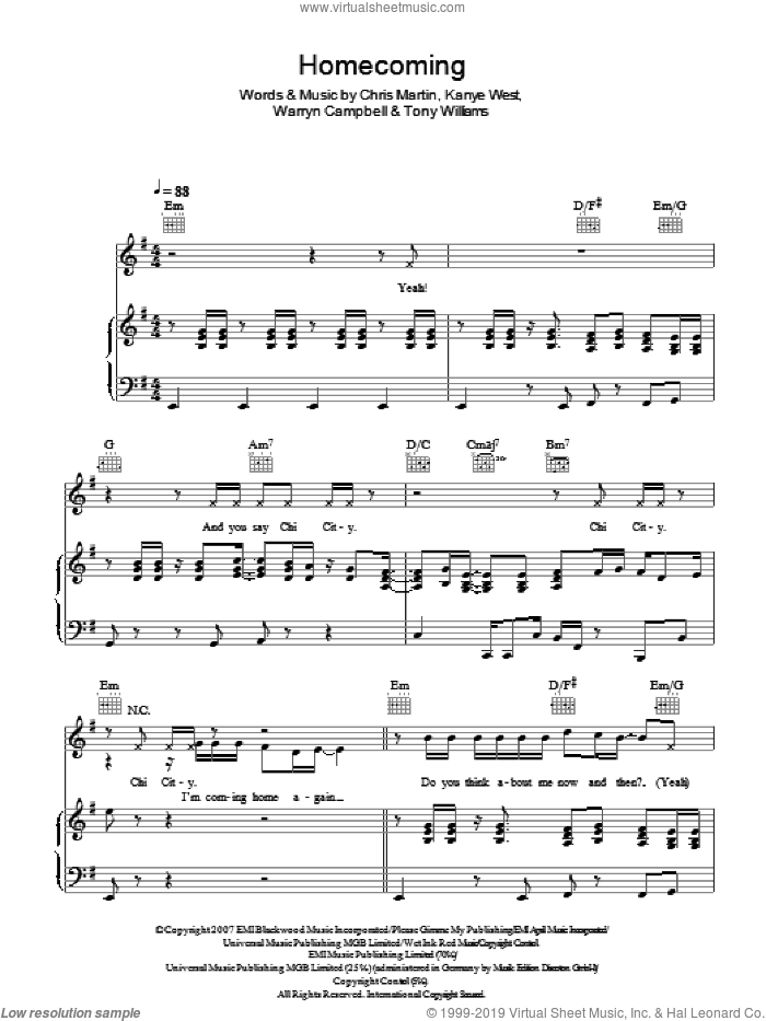 Homecoming sheet music for voice, piano or guitar by Kanye West feat. Chris Martin, Chris Martin, Kanye West, Tony Williams and Warryn Campbell, intermediate. Score Image Preview.