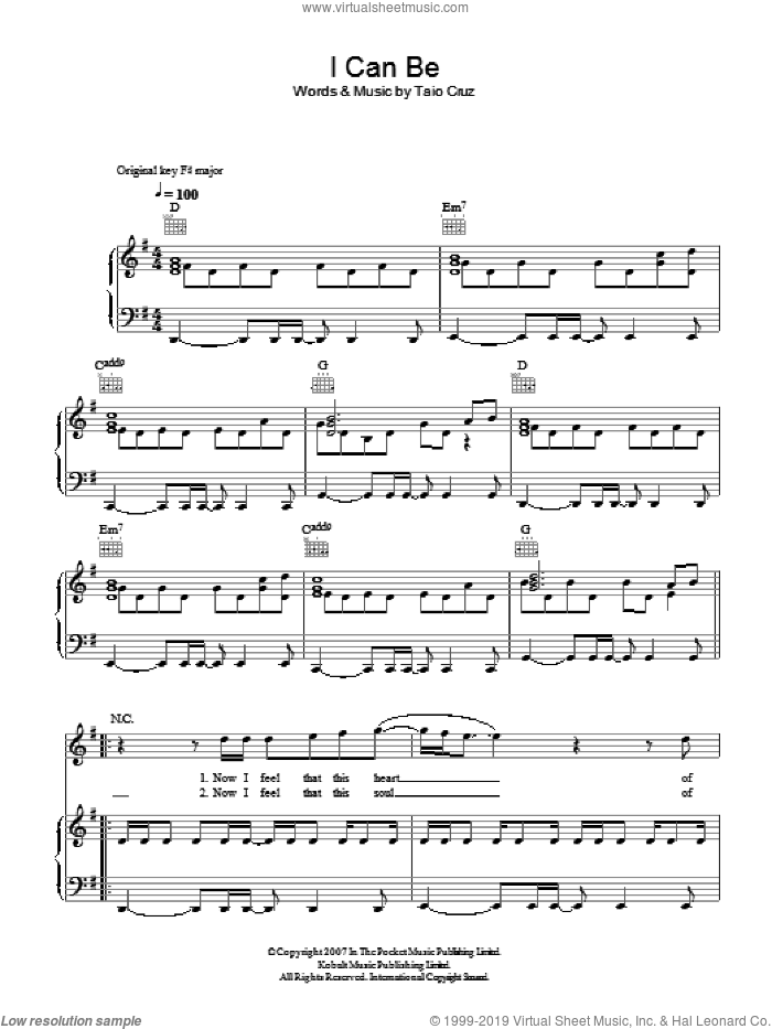 I Can Be sheet music for voice, piano or guitar by Taio Cruz, intermediate skill level