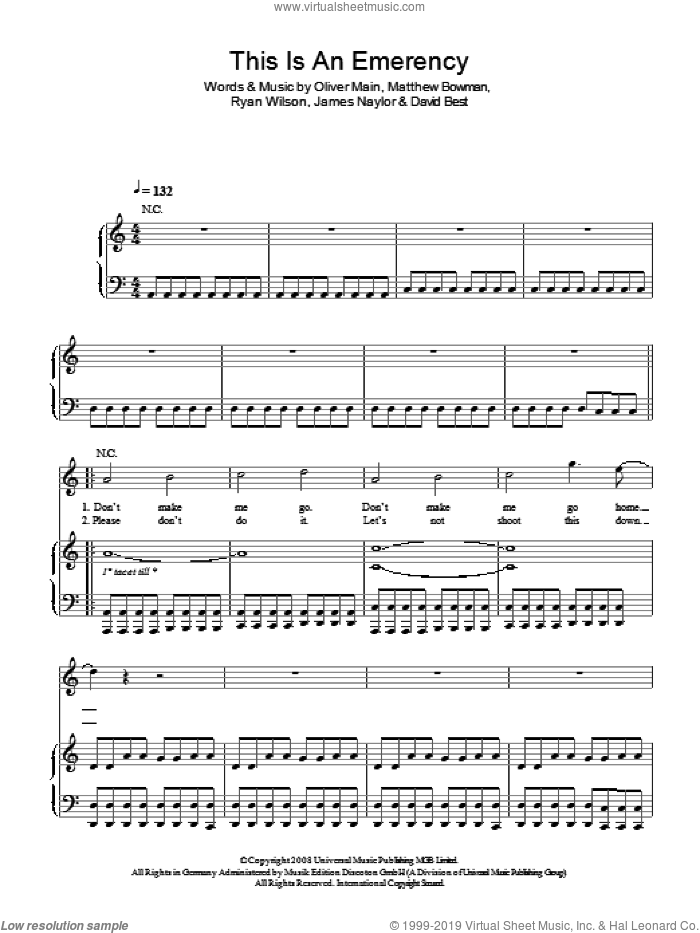 This Is An Emergency sheet music for voice, piano or guitar by David Best, James Naylor, Matthew Bowman and Oliver Main