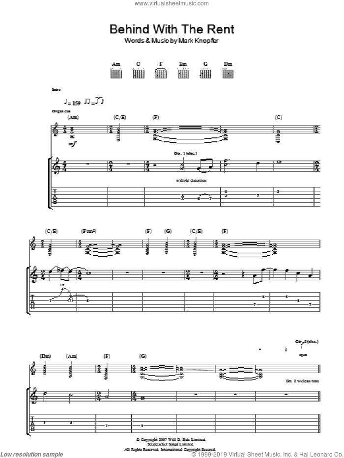 Behind With The Rent sheet music for guitar (tablature) by Mark Knopfler. Score Image Preview.