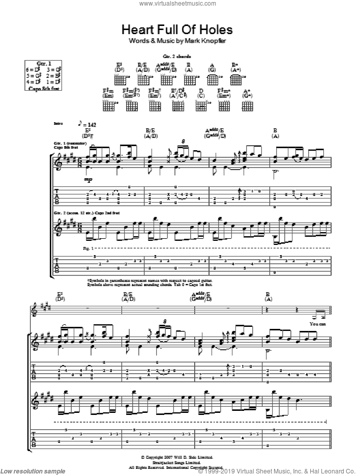 Heart Full Of Holes sheet music for guitar (tablature) by Mark Knopfler. Score Image Preview.