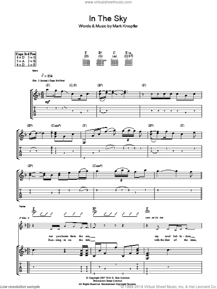 In The Sky sheet music for guitar (tablature) by Mark Knopfler. Score Image Preview.