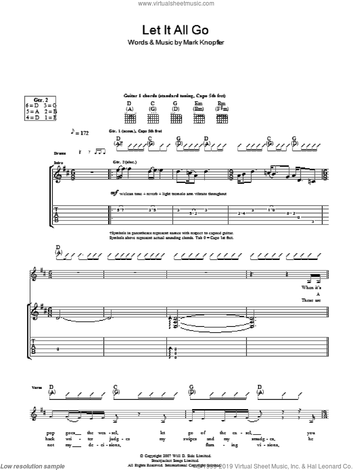 Let It All Go sheet music for guitar (tablature) by Mark Knopfler