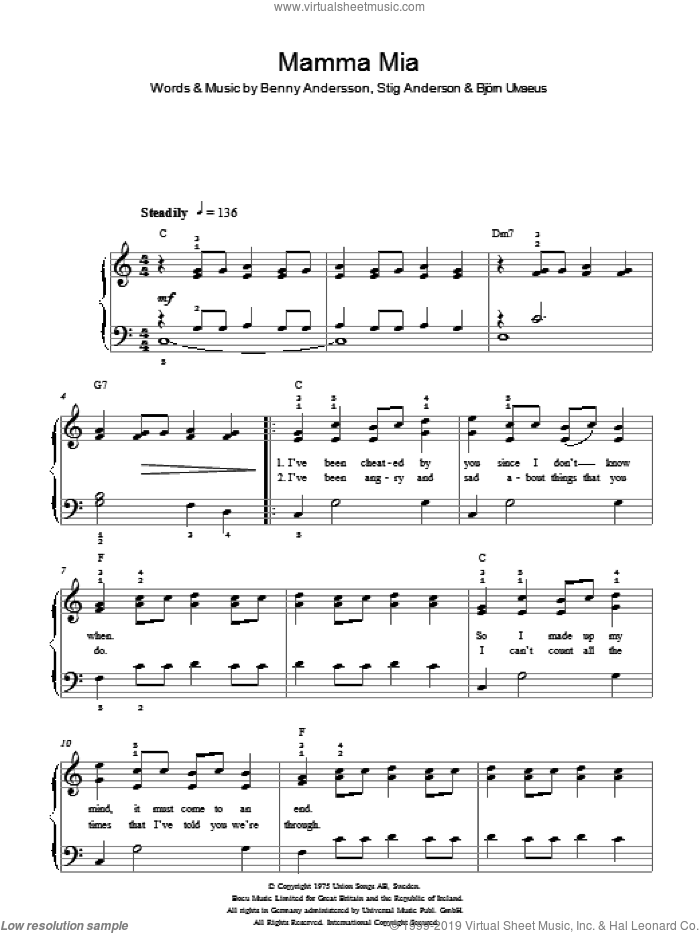 Mamma Mia sheet music for piano solo by ABBA, Benny Andersson, Bjorn Ulvaeus and Stig Anderson, easy. Score Image Preview.