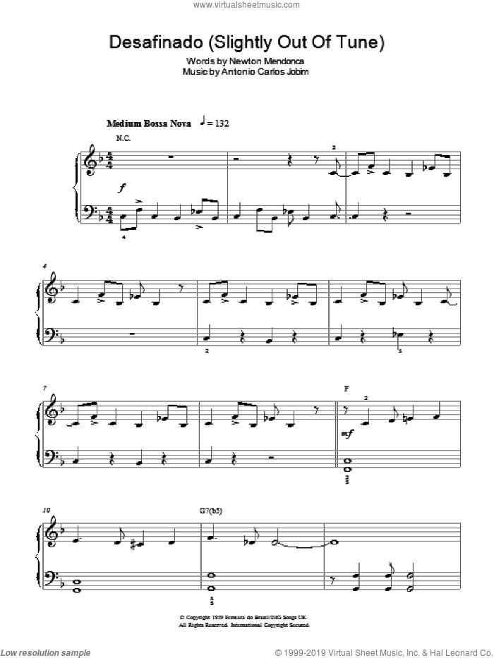 Desafinado (Slightly Out Of Tune) sheet music for piano solo by Newton Mendonca