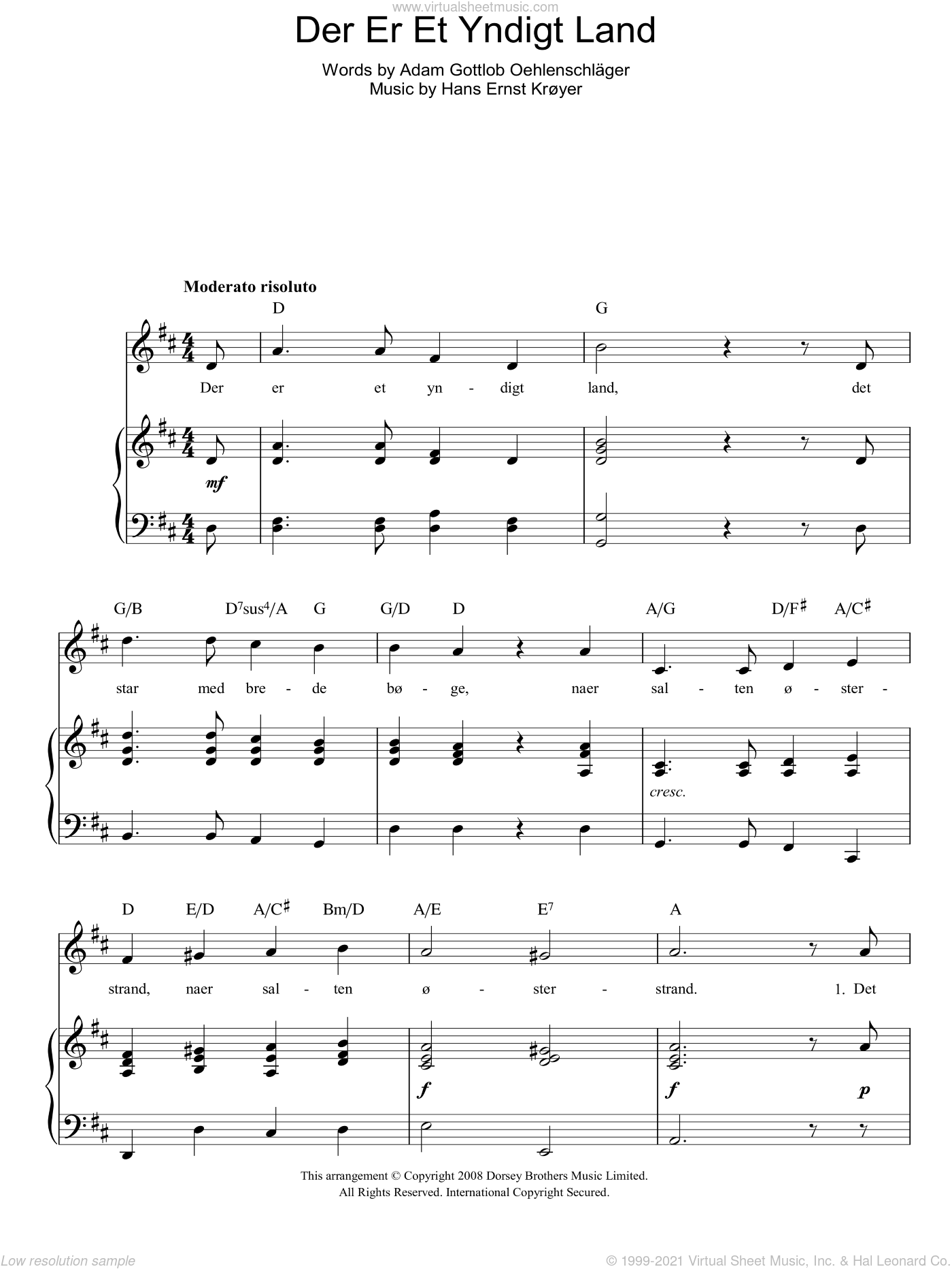 Der Er Et Yndigt Land (Danish National Anthem) sheet music for voice, piano or guitar by Adam Gottlob Oehlenschlager. Score Image Preview.