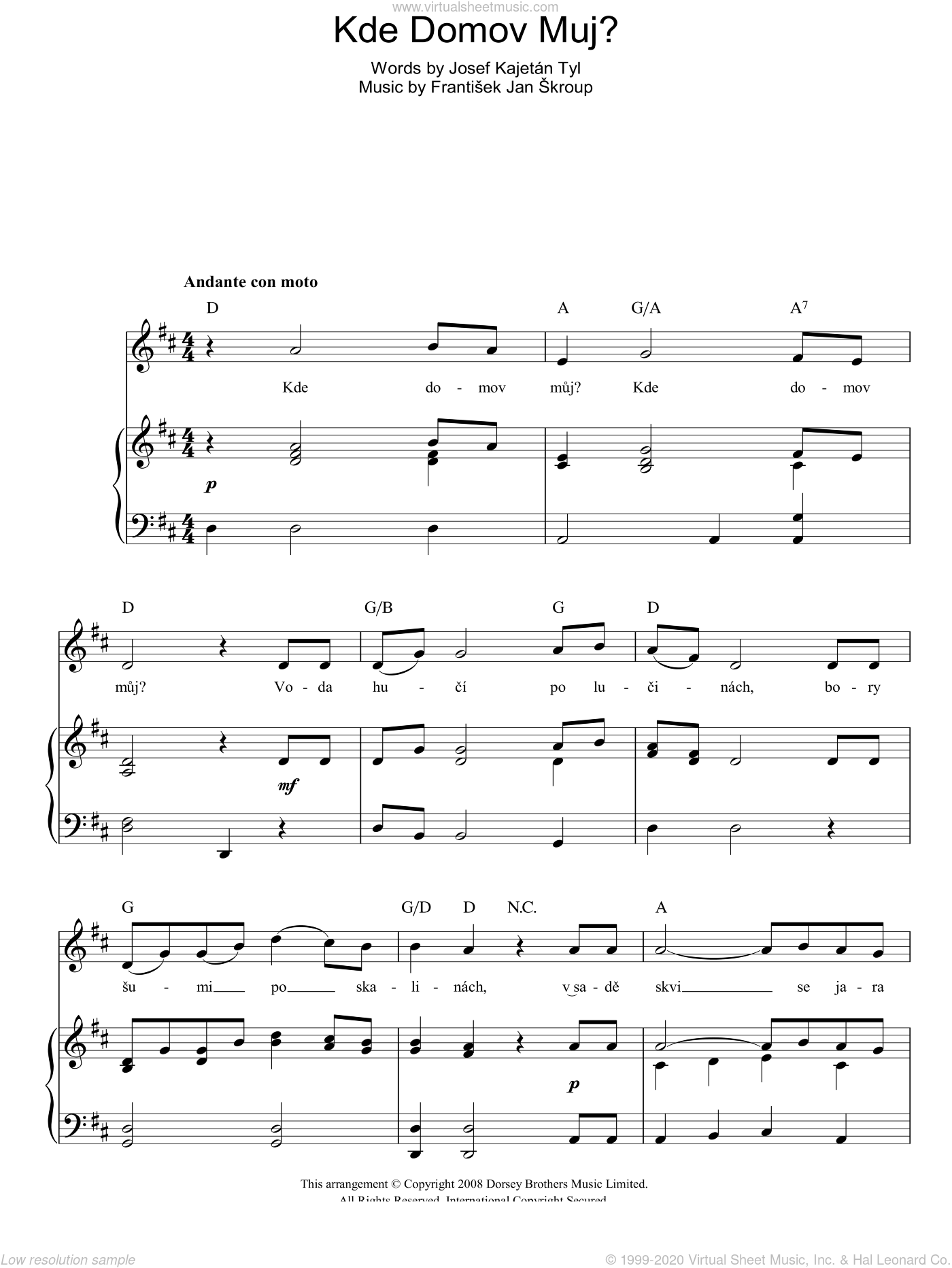 Kde Domov Muj? (Czech Republic National Anthem) sheet music for voice, piano or guitar by Frantisek Jan Skroup, intermediate voice, piano or guitar. Score Image Preview.