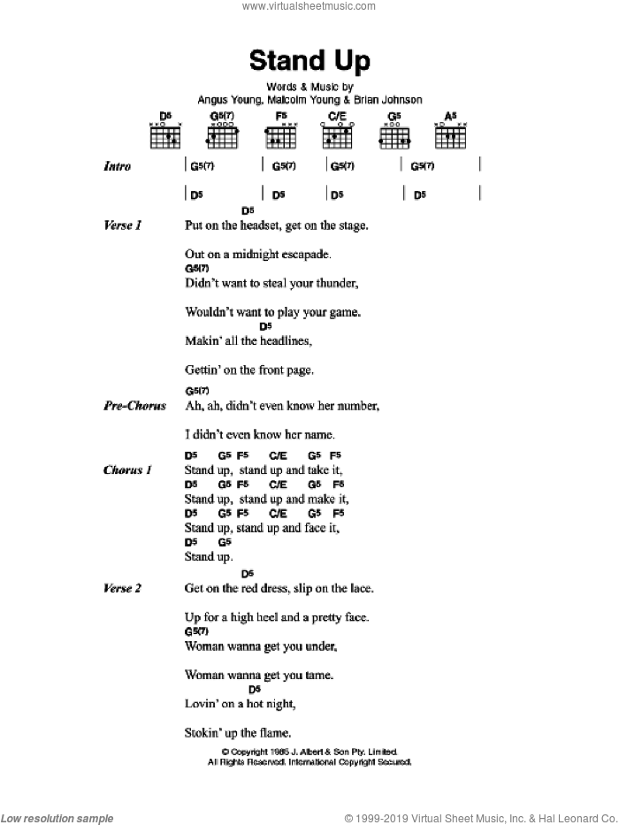 Stand Up sheet music for guitar (chords) by AC/DC, Angus Young, Brian Johnson and Malcolm Young, intermediate
