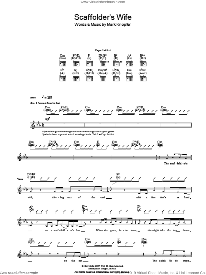 The Scaffolder's Wife sheet music for guitar (tablature) by Mark Knopfler, intermediate guitar (tablature). Score Image Preview.