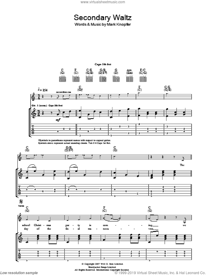 Secondary Waltz sheet music for guitar (tablature) by Mark Knopfler. Score Image Preview.