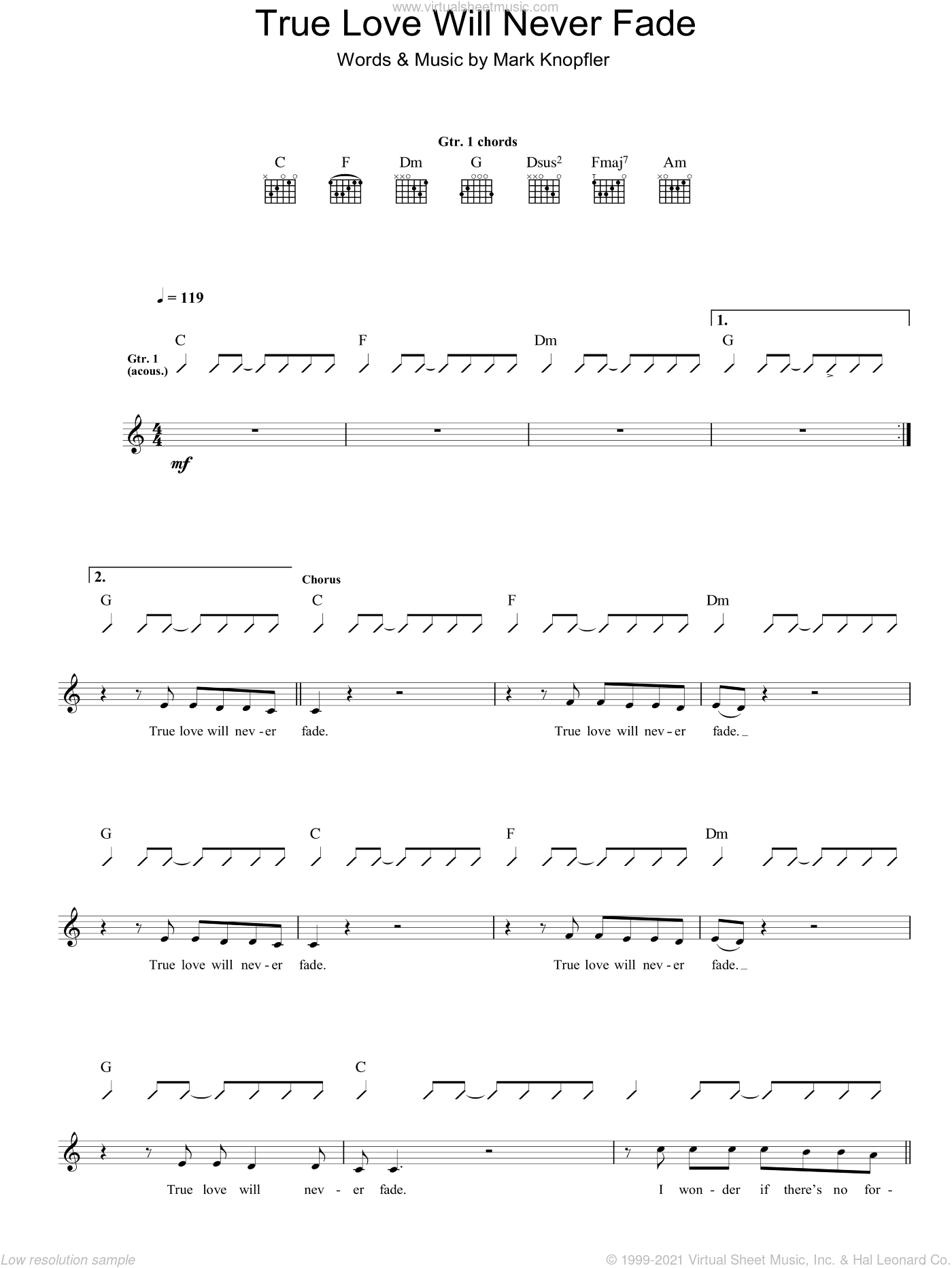 True Love Will Never Fade sheet music for guitar (tablature) by Mark Knopfler. Score Image Preview.