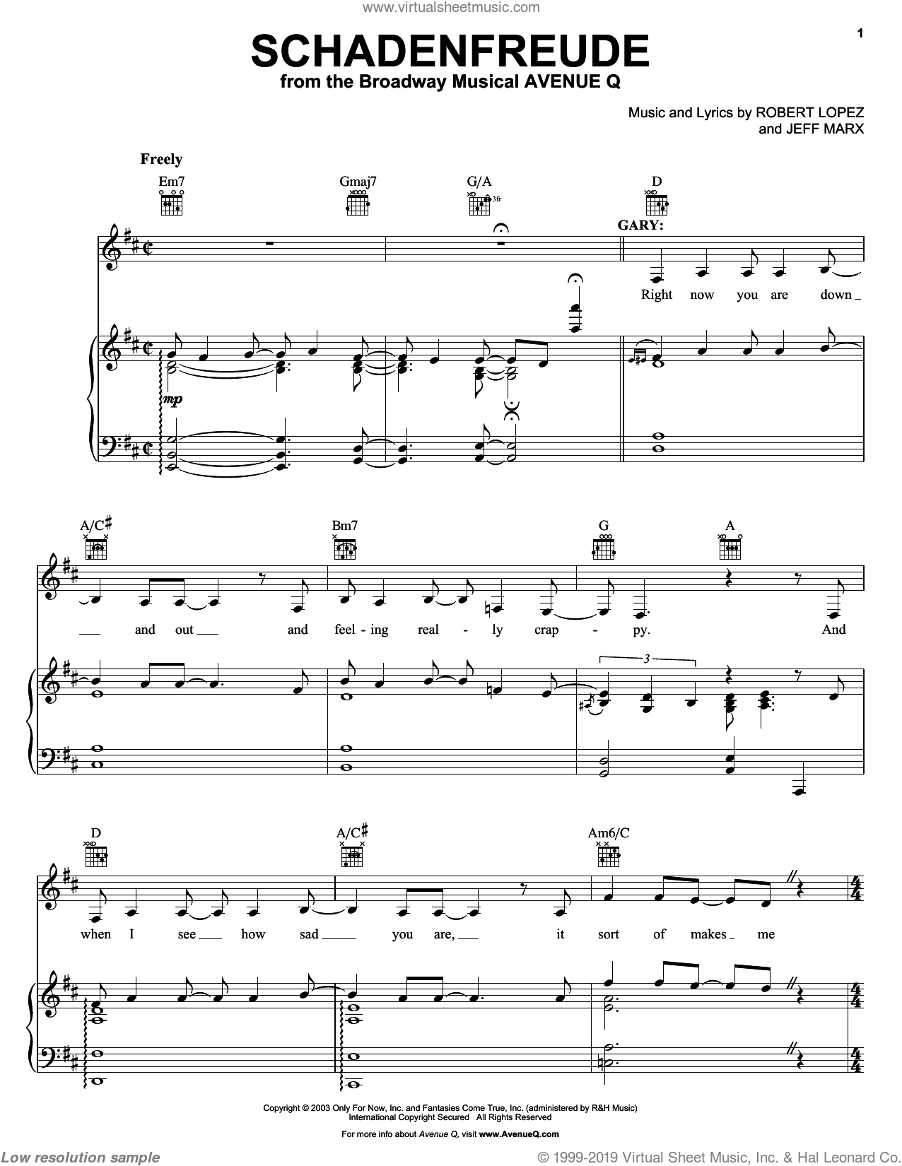 Schadenfreude sheet music for voice, piano or guitar by Robert Lopez and Avenue Q. Score Image Preview.
