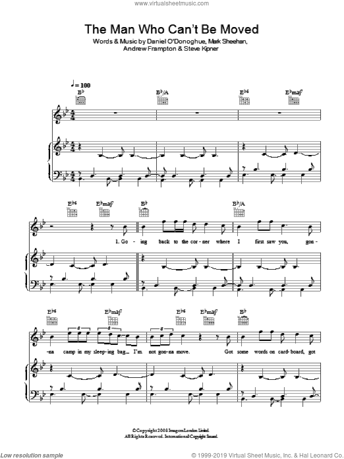 The Man Who Can't Be Moved sheet music for voice, piano or guitar by The Script, Andrew Frampton, Mark Sheehan and Steve Kipner, intermediate skill level
