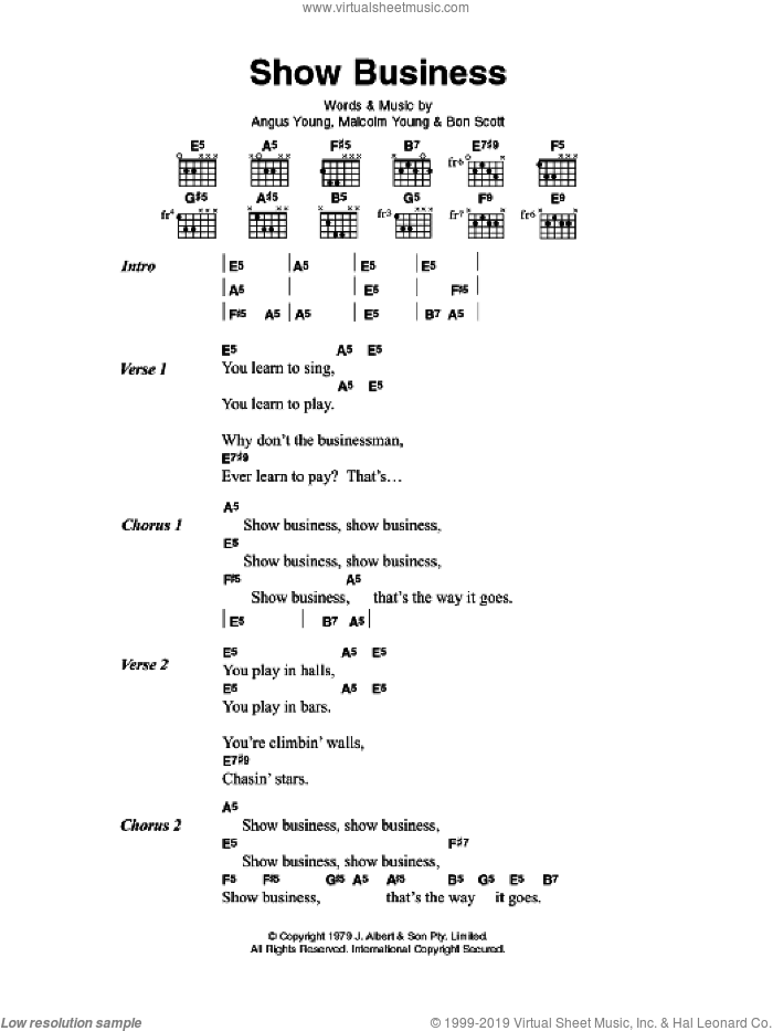 Show Business sheet music for guitar (chords) by Angus Young, AC/DC and Malcolm Young. Score Image Preview.