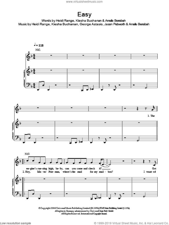 Easy sheet music for voice, piano or guitar by Sugababes, Amalle Berrabah, George Astasio, Heidi Range, Jason Pebworth and Kiesha Buchanan, intermediate. Score Image Preview.