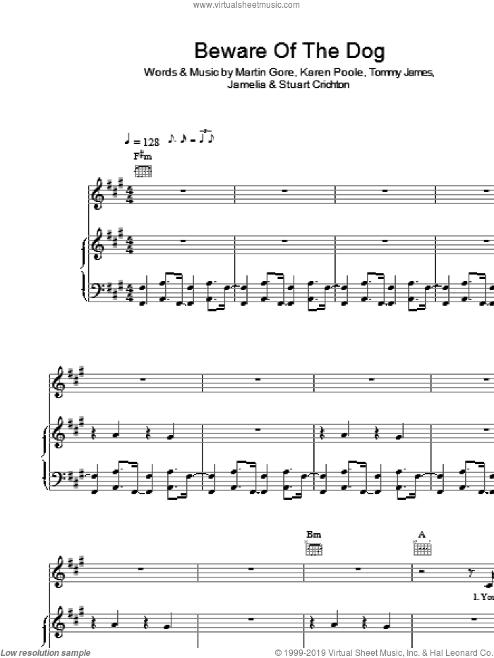Beware Of The Dog sheet music for voice, piano or guitar by Jamelia and Tommy James. Score Image Preview.