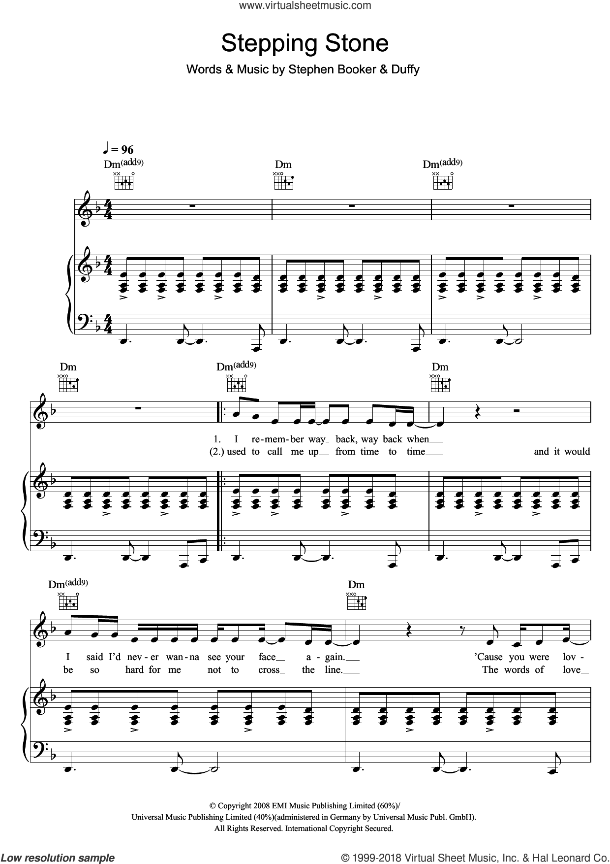 Stepping Stone sheet music for voice, piano or guitar by Duffy and Steve Booker, intermediate skill level