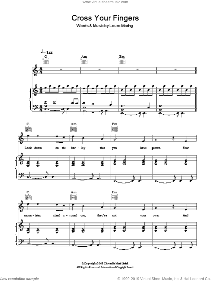 Cross Your Fingers sheet music for voice, piano or guitar by Laura Marling