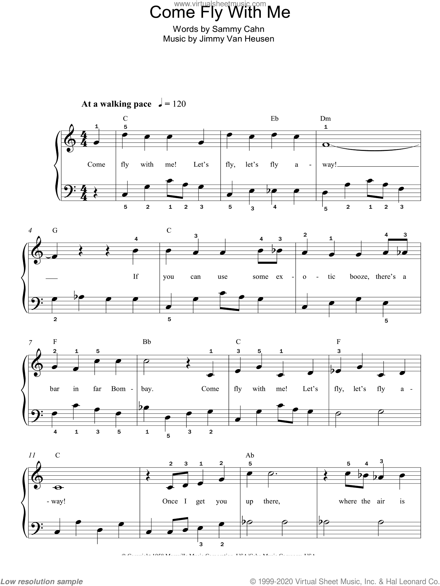 Come Fly With Me, (easy) sheet music for piano solo by Frank Sinatra, Jimmy Van Heusen and Sammy Cahn, easy skill level