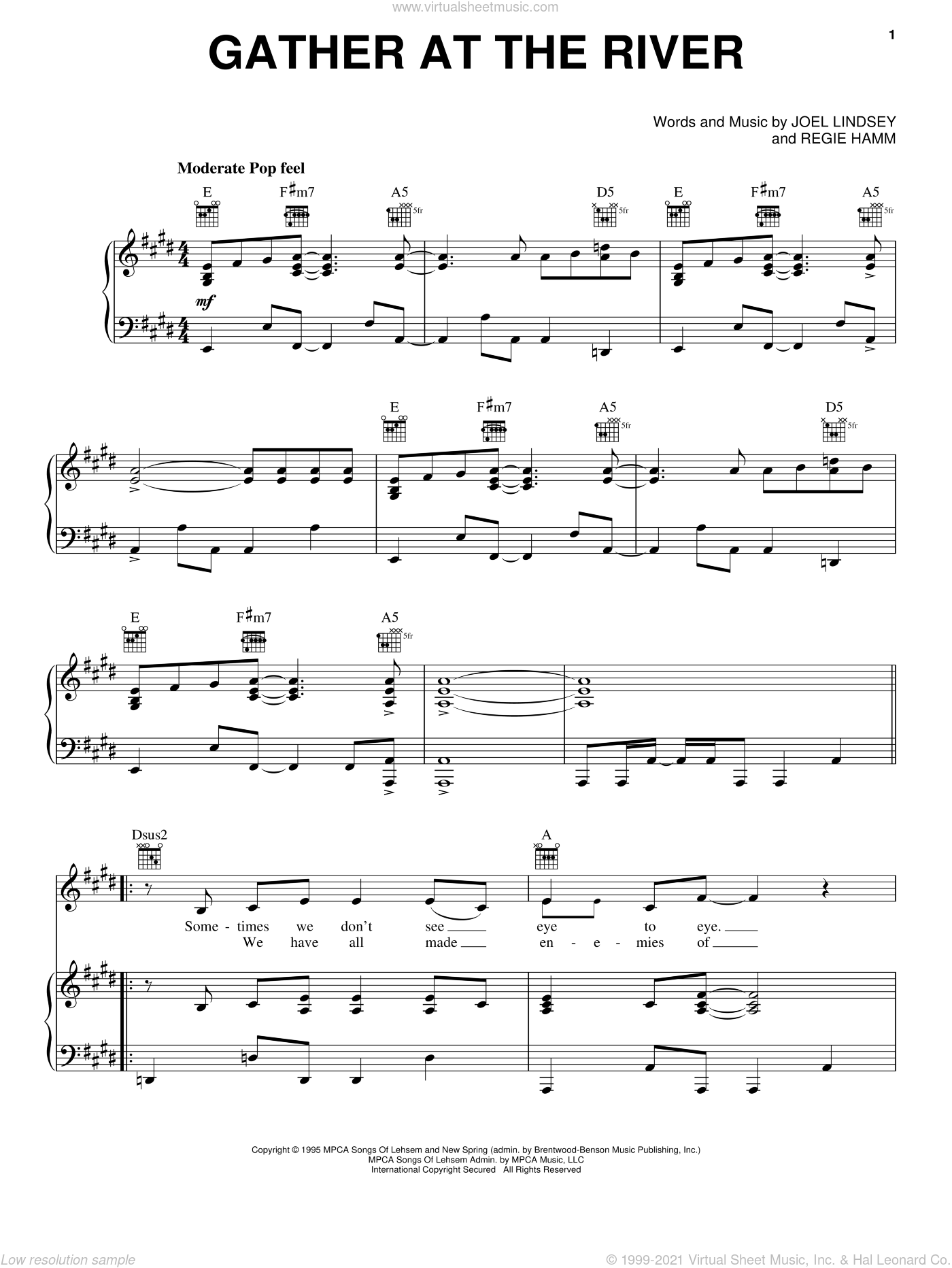 Gather At The River sheet music for voice, piano or guitar by Point Of Grace, Joel Lindsey and Regie Hamm, intermediate skill level