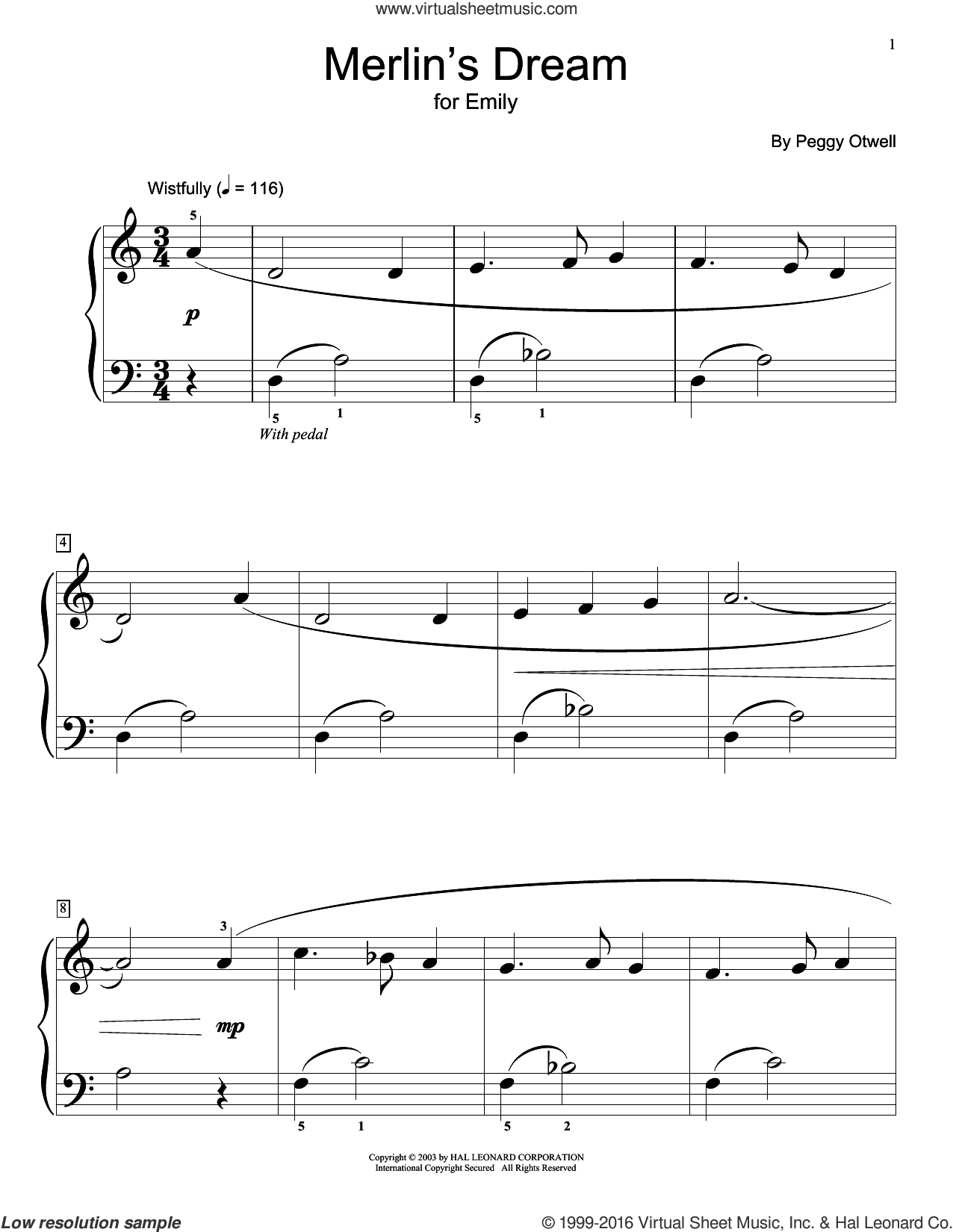 Merlin's Dream sheet music for piano solo (elementary) by Peggy Otwell and Miscellaneous. Score Image Preview.