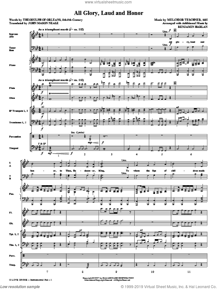 O Love Divine (COMPLETE) sheet music for orchestra/band by John Purifoy, Benjamin Harlan, Charles Wesley and Christopher Wordsworth, intermediate skill level