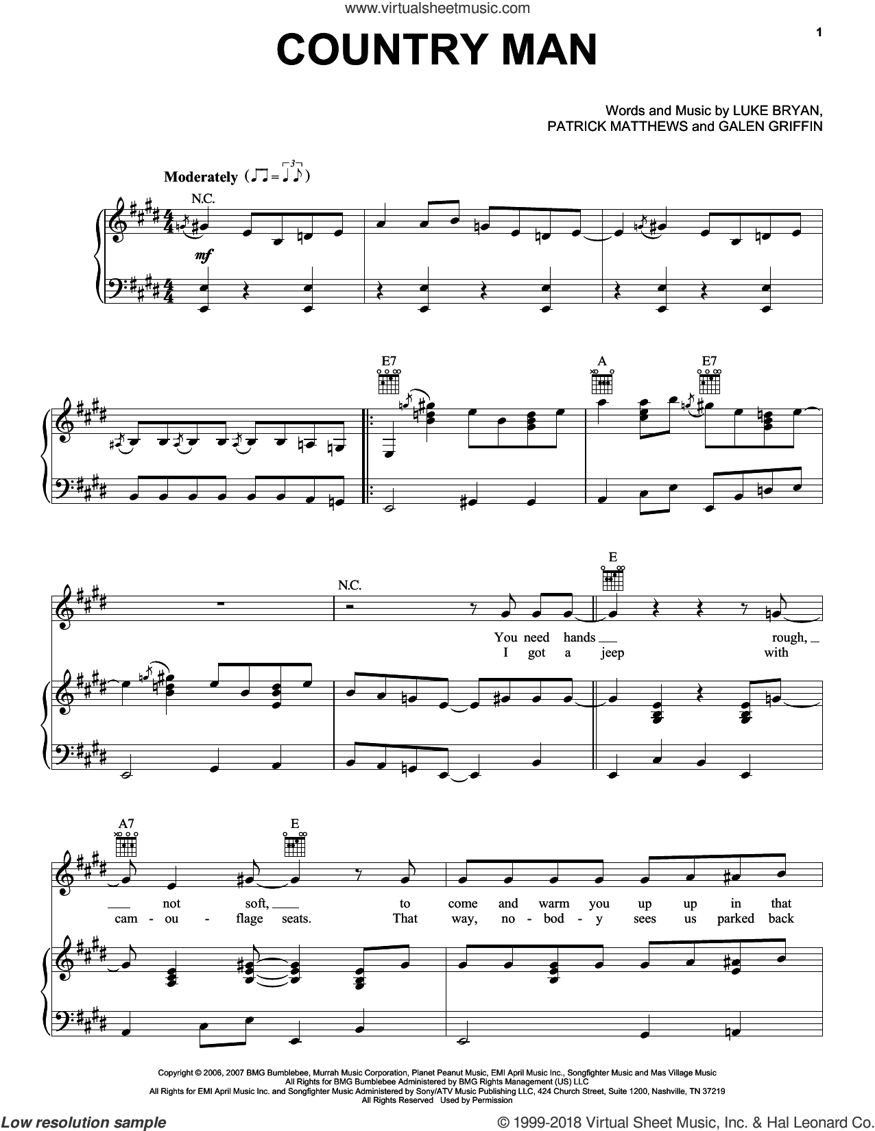Country Man sheet music for voice, piano or guitar by Patrick Matthews and Luke Bryan