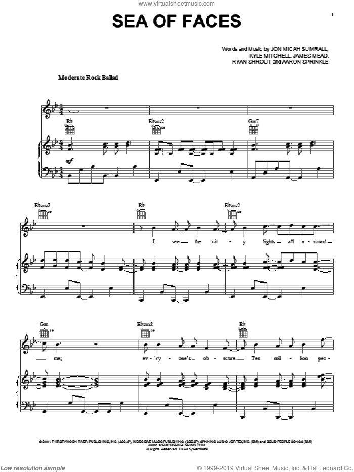 Sea Of Faces sheet music for voice, piano or guitar by Kutless, Aaron Sprinkle, James Mead, Jon Micah Sumrall, Kyle Mitchell and Ryan Shrout, intermediate skill level
