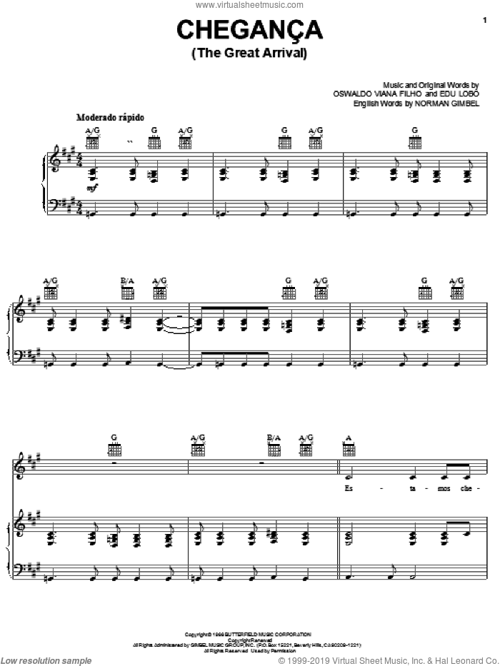Cheganca (The Great Arrival) sheet music for voice, piano or guitar by Norman Gimbel, Edu Lobo and Oswaldo Viana Filho, intermediate skill level