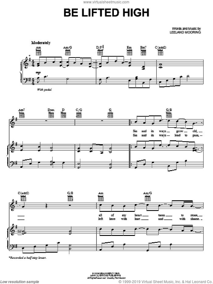 Be Lifted High sheet music for voice, piano or guitar by Leeland and Leeland Mooring, intermediate skill level