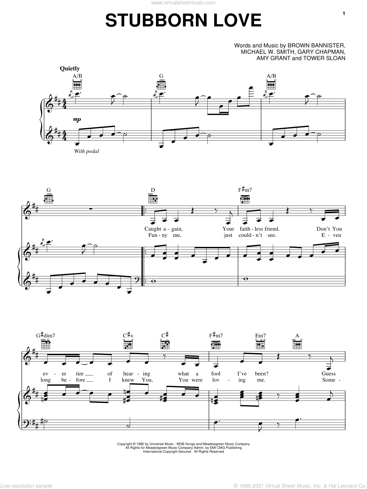 Stubborn Love sheet music for voice, piano or guitar by Michael W. Smith and Amy Grant. Score Image Preview.
