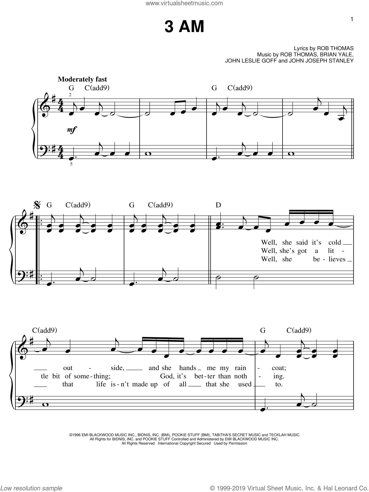3 AM sheet music for piano solo by Rob Thomas