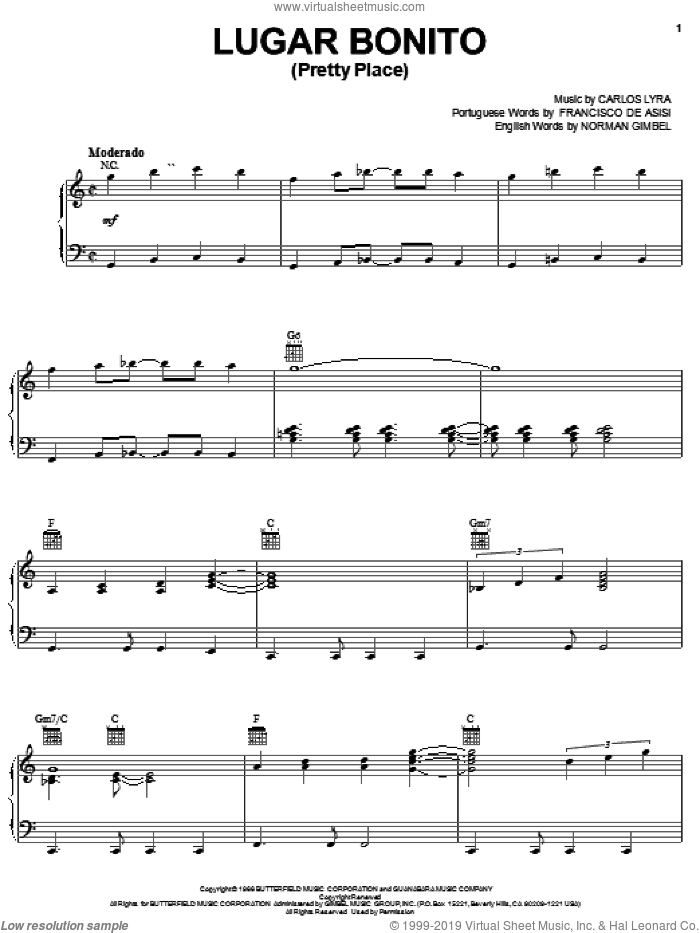 Lugar Bonito (Pretty Place) sheet music for voice, piano or guitar by Norman Gimbel, Carlos Lyra and Francisco De Asisi, intermediate skill level