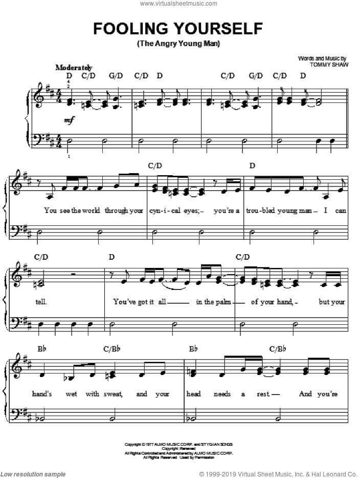 Fooling Yourself (The Angry Young Man) sheet music for piano solo by Tommy Shaw and Styx. Score Image Preview.