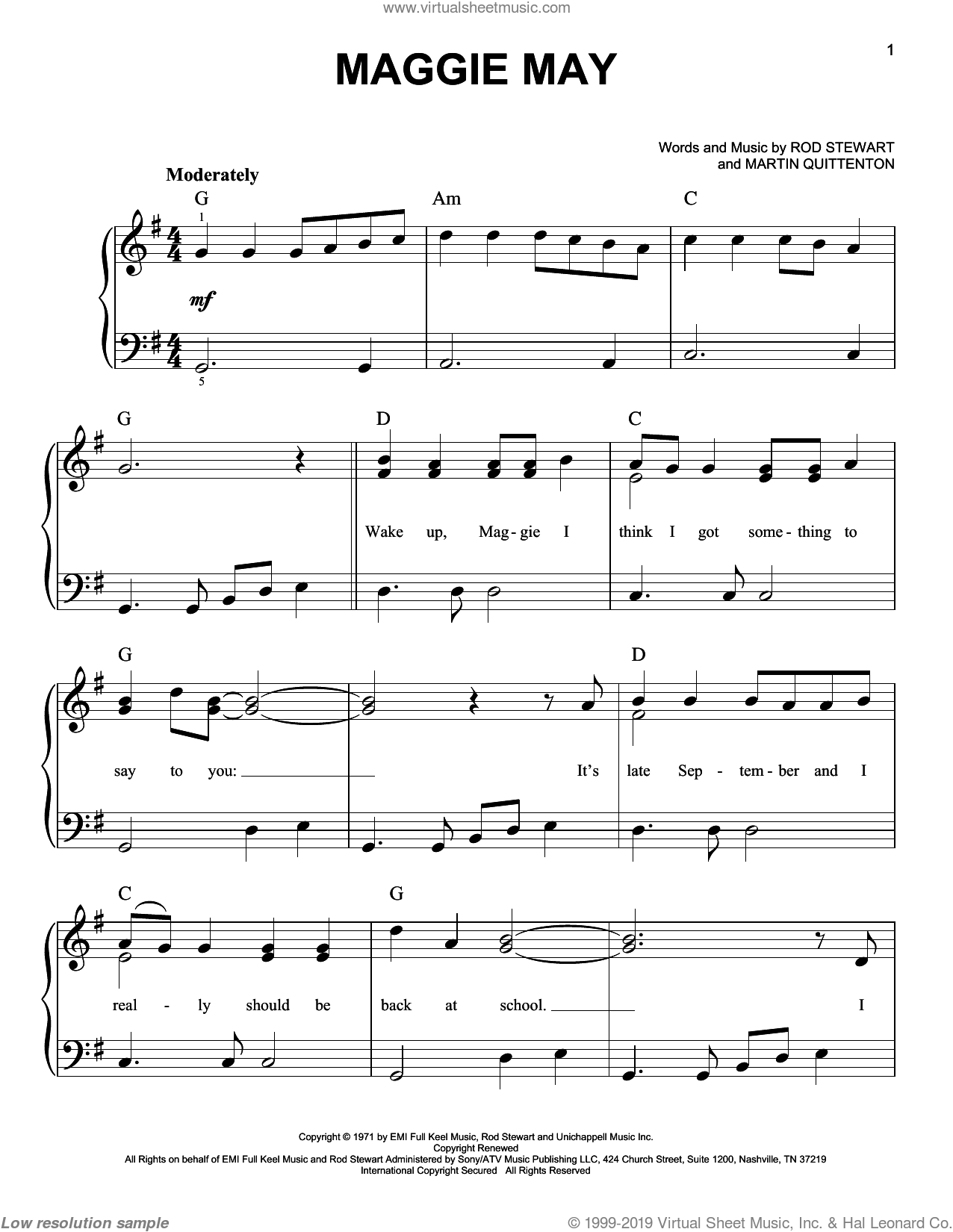 Maggie May sheet music for piano solo by Martin Quittenton and Rod Stewart. Score Image Preview.