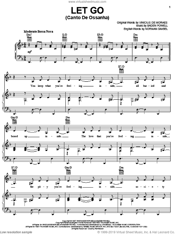 Let Go sheet music for voice, piano or guitar by Vinicius de Moraes, Baden Powell and Norman Gimbel, intermediate skill level