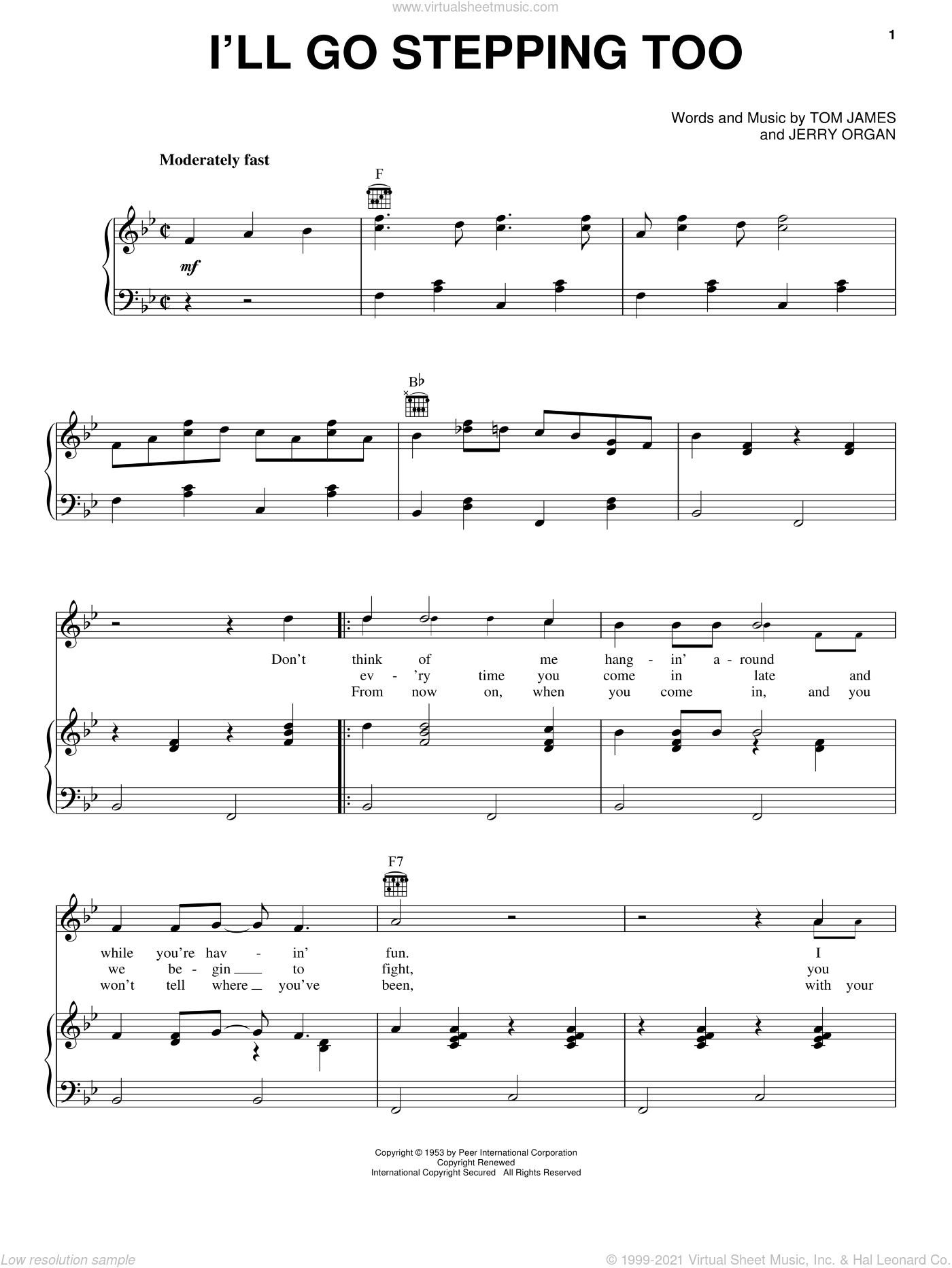 I'll Go Stepping Too sheet music for voice, piano or guitar by Tommy James