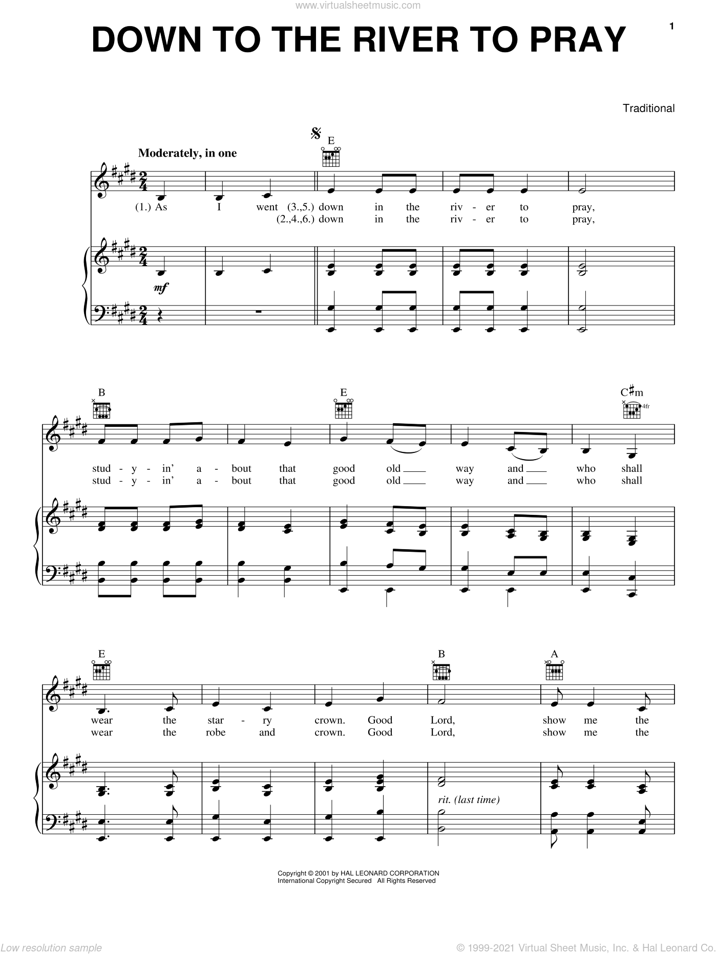 Down To The River To Pray sheet music for voice, piano or guitar. Score Image Preview.