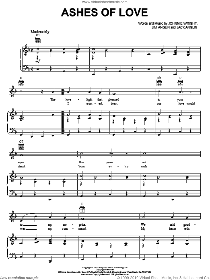 Ashes Of Love sheet music for voice, piano or guitar by Johnnie & Jack, Jack Anglin, Jim Anglin and Johnnie Wright, intermediate skill level