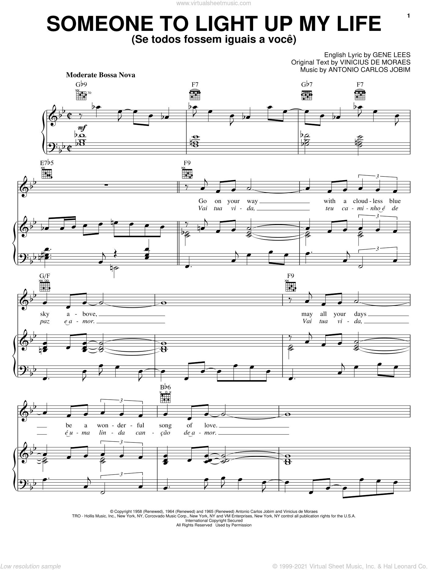 Someone To Light Up My Life (Se Todos Fossem Iguais A Voce) sheet music for voice, piano or guitar by Antonio Carlos Jobim, Eugene John Lees and Vinicius de Moraes, intermediate skill level