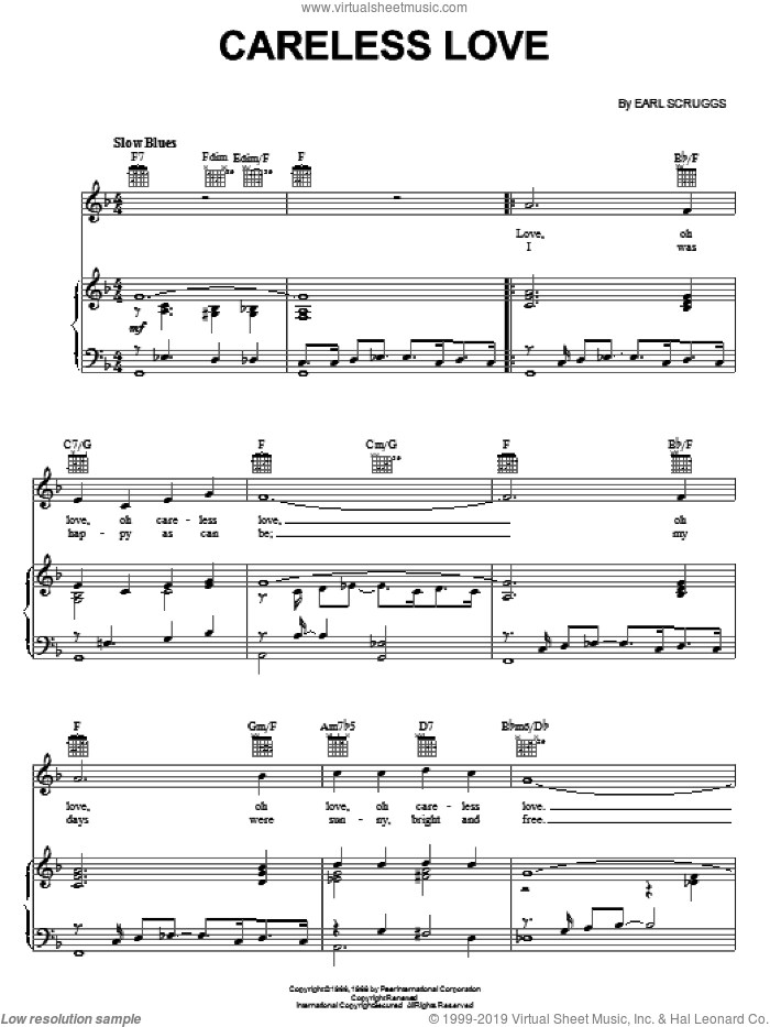 Careless Love sheet music for voice, piano or guitar by Flatt & Scruggs and Earl Scruggs, intermediate. Score Image Preview.